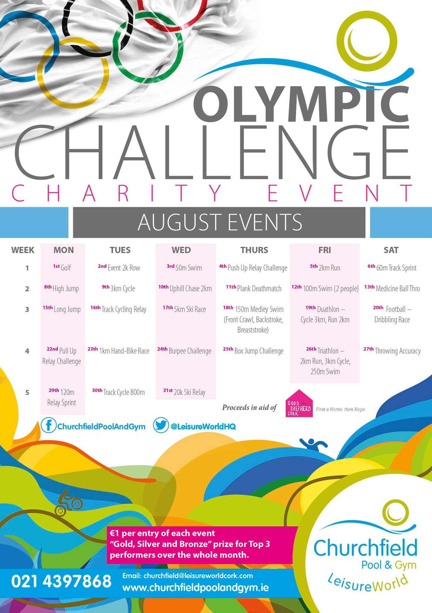 Churchfield Pool Gym Olympic Challenge Good Shepherd Cork